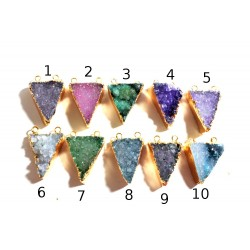 Druzy gold frame pendant TRIANGLE - Style 7