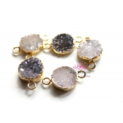 Druzy connector in gold frame - light grey color