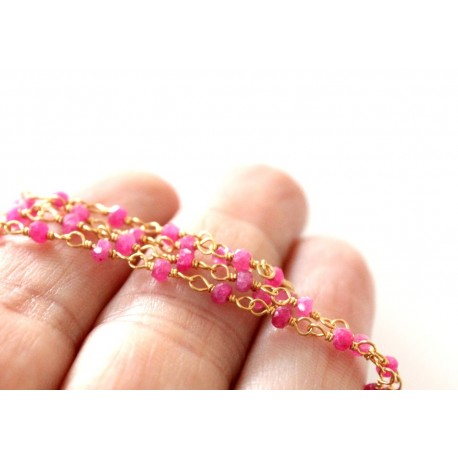 Chain Ruby rondelles stones 3mm, Gold Plated
