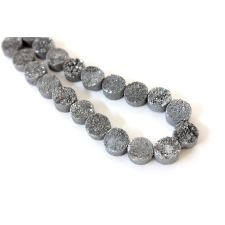 Round Druzy Stones Drilled Silver Color 10mm