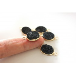 Druzy connector in gold frame - black