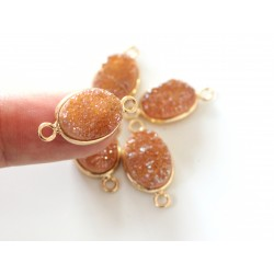 Druzy connector in gold frame - gold champagne