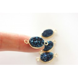 Druzy connector in gold frame - dark blue