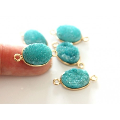 Druzy connector in gold frame - mint