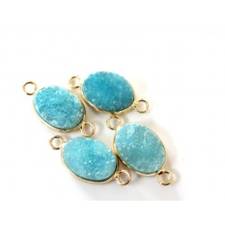 Druzy connector in gold frame - aqua blue