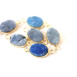 Druzy connector in gold frame - lavender /blue