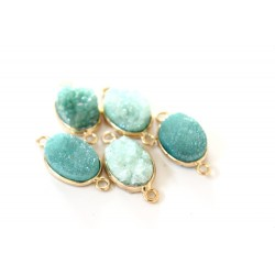 Druzy connector in gold frame - green