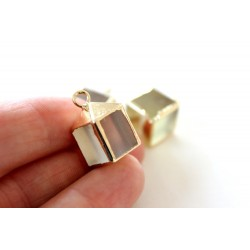 Smoky quartz pendant, cube 12x12mm