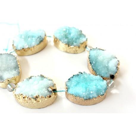 Blue Druzy Quartz beads, oval, gold plated