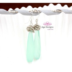Mint Chalcedony and Coiled Silver Wire Earrings