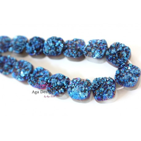 Square Druzy Stones Drilled Navy Blue Color 12mm