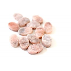 Oval Druzy Stones Drilled Natural Pink Color 10x15mm