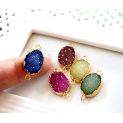 Druzy connector in gold frame pink color style 1