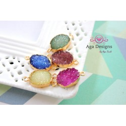 Druzy connector in gold frame blue color style 2