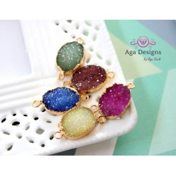 Druzy connector in gold frame brown color style 3