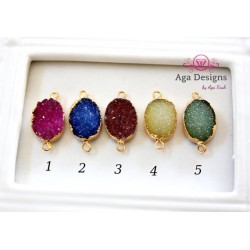 Druzy connector in gold frame lemon color style 4