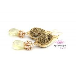 Druzy Gold earrings with Lemon Quartz and Seed Pearls