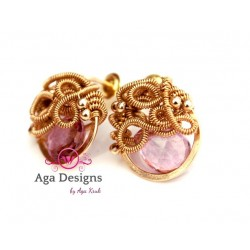 Pink Quartz and Gold Coiled wire earrings