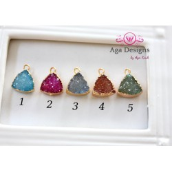Druzy pendant /charm in gold frame brown color style 4