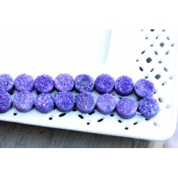 Round Druzy Stones Drilled Natural Purple Color 10mm