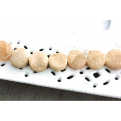 Round Druzy Stones Drilled Natural Beige / Topaz Color 10mm