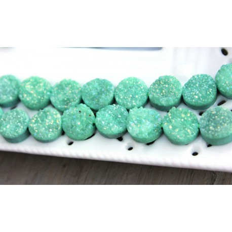 Round Druzy Stones Drilled Natural Green Color 10mm