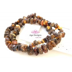 Amber beads - brown/gold chunks