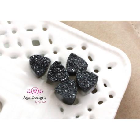 Triangle Druzy Stones with Hole Black