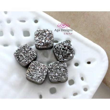 Square Druzy Stones with Hole Hematite