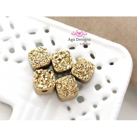 Square Druzy Stones with Hole Gold