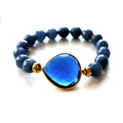 Blue Quartz and Faceted Agate Bracelet