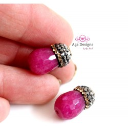 HOT PINK Jade stones set of two