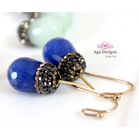 NAVY BLUE Jade stones set of two
