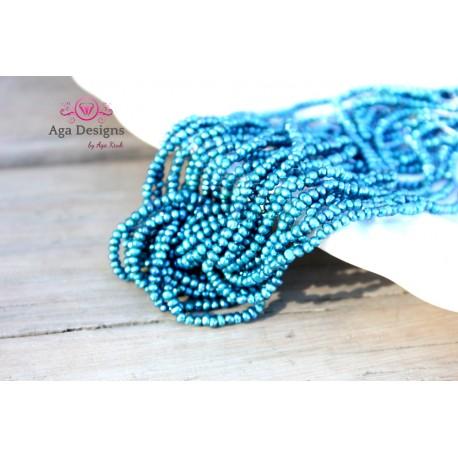 Seed pearls 2mm full strand blue