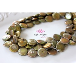 Gold / rust green Coin Fresh water pearls 16 mm