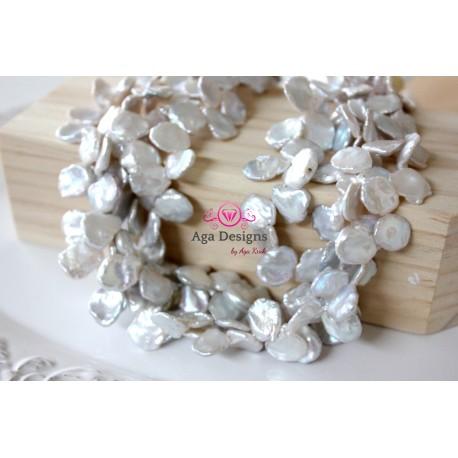 Top drilled white flake Fresh water pearls, keshi 12x14mm