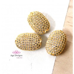 Gold, Egg Beads, CZ Pave Beads, 16x11mm, Cubic Zirconia Pave Bead, Oval Beads with Clear CZ Pave