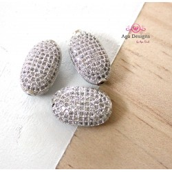 Egg Beads, CZ Pave Beads, 16x11mm, Cubic Zirconia Pave Bead, Oval Beads with Clear CZ Pave