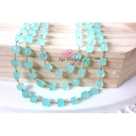 Chain Mint Chalcedony stone cubes stones 6mm, Gold Filled Wire