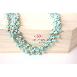 Chain Aqua blue rondelles clusters 2- 3mm, Gold Plated