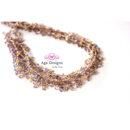 Chain LIGHT AMETHYST color rondelles clusters 2- 3mm, Gold Plated