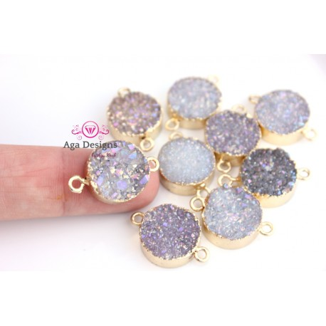 Druzy connector in gold frame lavender color