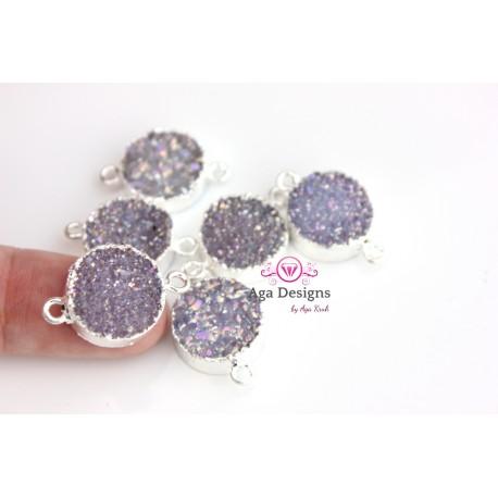 Druzy connector in silver frame lavender color