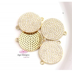 PAVE connector in gold color