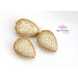 GOLD Beads, CZ Pave Beads, 14x10mm, Cubic Zirconia Pave Bead, Oval Beads with Clear CZ Pave