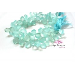 Mint Chalcedony briolettes 7mmx10mm faceted