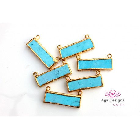 Turquoise connector in gold color
