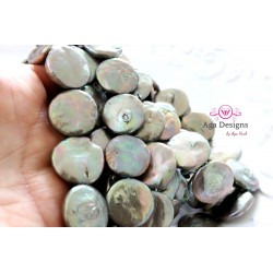 Center drilled coin shape Grey/Green fresh water pearls 19mm