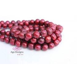 Center drilled round shape Garnet fresh water pearls 8.5-9mm