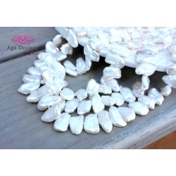 Center drilled stick shape white fresh water pearls 10x15mm